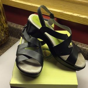 Jambu Black Leather Comfort Sandals